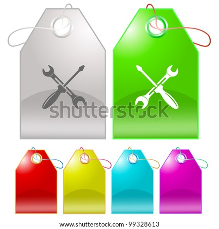 Screwdriver and spanner. Raster tags. Vector version is in my portfolio. - stock photo