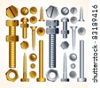 Screws, Bolts, Nuts and Rivets, isolated elements for your design - stock photo
