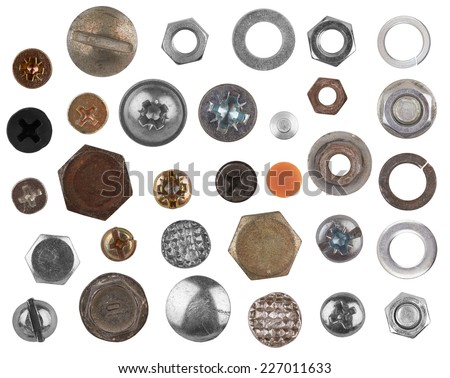 Screws head collection isolated on a white background - stock photo