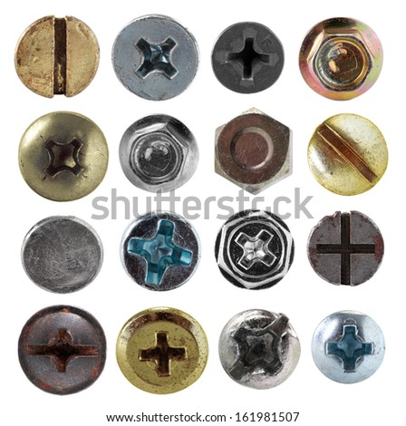 Screws head nut bolt collection set isolated on white background - stock photo