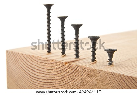 screws isolated on white background closeup - stock photo