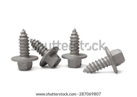 Screws on white background - stock photo