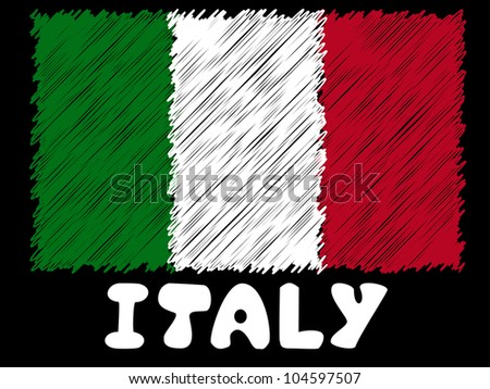 scribble sketch of italy  flag - stock photo