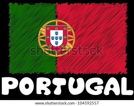 scribble sketch of Portugal flag - stock photo