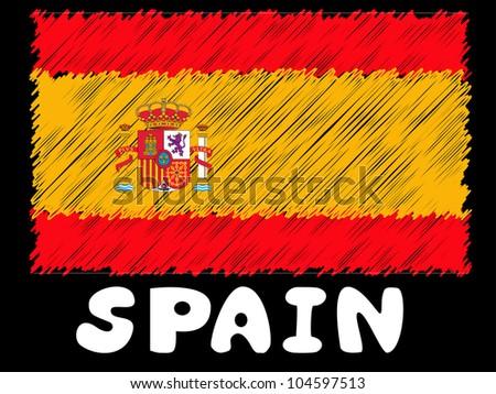 scribble sketch of Spain flag - stock photo