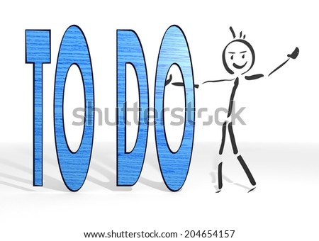 scribble stick man presents a to do symbol white background - stock photo
