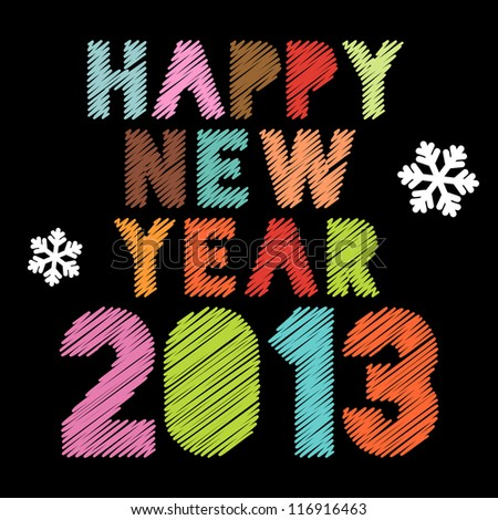 Scribbled Happy New Year 2013 poster in vintage colors, raster version - stock photo