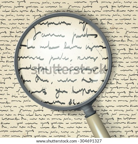 Scribbles and magnifier. Raster version - stock photo