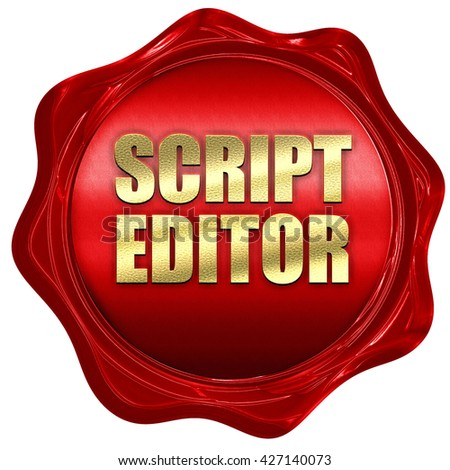 script editor, 3D rendering, a red wax seal - stock photo
