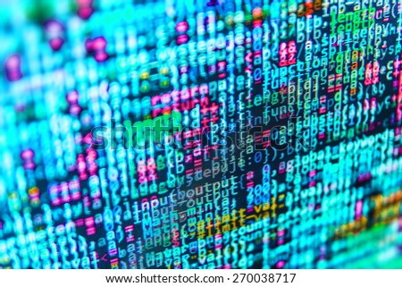 Script on computer with source code. Coding application by programmer developer. Web app coding.  Programming code abstract background screen of software. Blue color.  - stock photo
