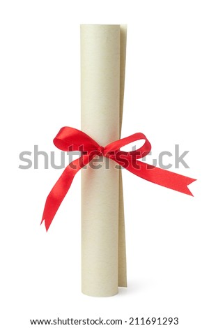 Scroll of diploma isolated on white - stock photo