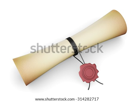 scroll paper with a seal isolated on white background. 3d render image. - stock photo