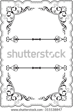 Scrolling ornate perfect frame on white - stock photo