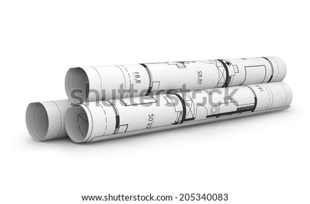 Scrolls of engineering drawings. Isolated render on a white background  - stock photo