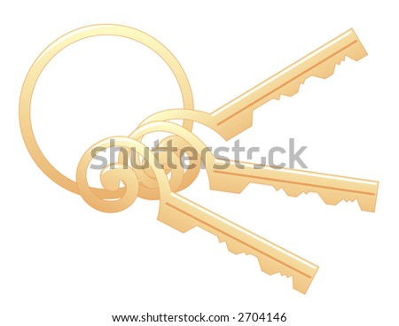 Scrollwork Keys with Ring - stock photo