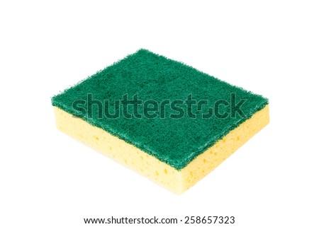 Scrubbing sponge - isolated on white background - stock photo