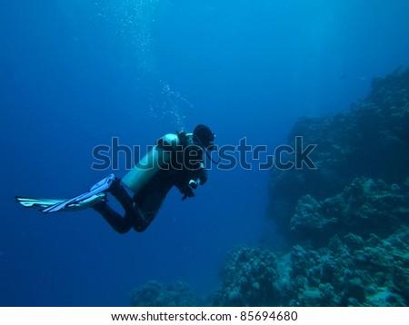 Scuba Diver silhouette - stock photo