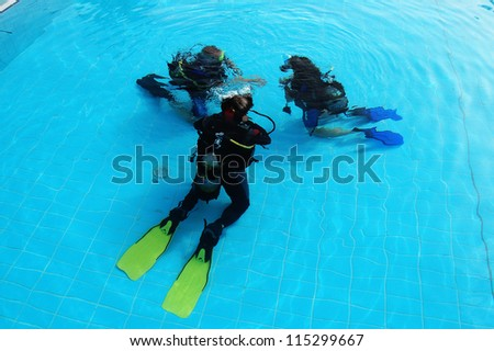 scuba diving class - stock photo