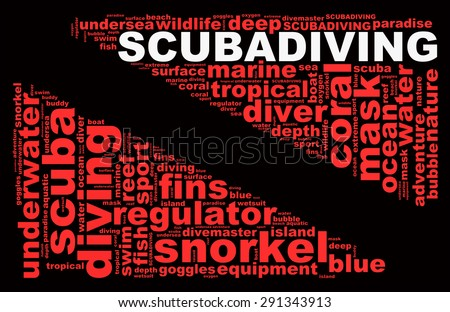 SCUBA DIVING info-text graphics composed in the form of a dive flag concept (word clouds) on a black background. - stock photo