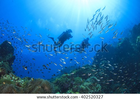 Scuba diving on oceanic coral reef underwater - stock photo