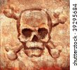 scull on the wall - stock photo