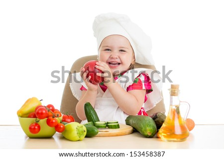 scullion little girl with vegetables isolated on white - stock photo