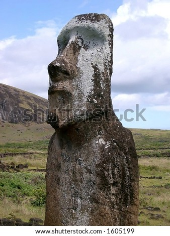 sculpture at easter islands - stock photo
