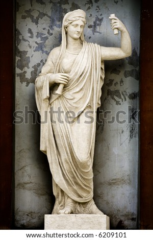 Sculpture Athene ancient greek mythology the goddess of wisdom and fair war. - stock photo