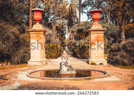 Sculpture in botanical garden in Palermo, Sicily - stock photo