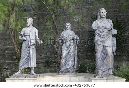 Sculpture in front of Bodrum Castle, Mugla, Turkey - stock photo