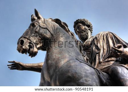 Sculpture Man on horse, Rome - stock photo