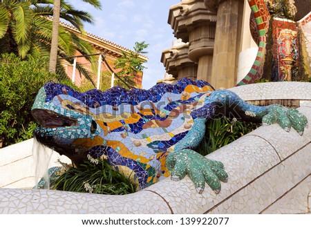 Sculpture of a Dragon salamandra of Antoni Gaudi mosaic in park guell of Barcelona - stock photo