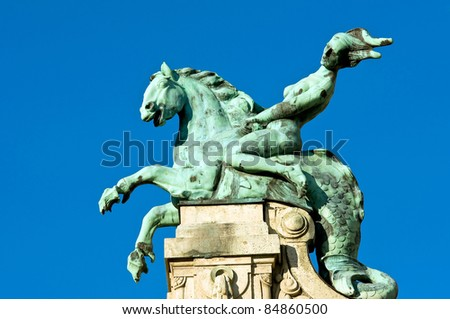 Sculpture of a hippokampos on the Szechenyi Bath in Budapest, Hungary - stock photo