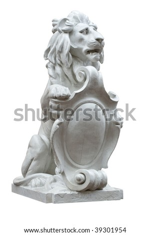 Sculpture of a lion with the arms on a white background - stock photo