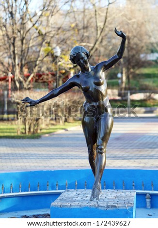 Sculpture of a naked girl in Gorky Park - stock photo