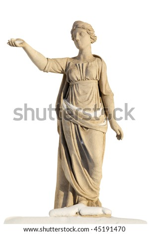 Sculpture of ancient women covered with snow isolated on white with clipping path. Latona (Leto) - daughter of Titans Coeus and Phoebe. Beloved of Zeus, mother of Apollo and Artemis. - stock photo