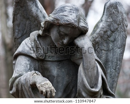 Sculpture of Angel at a Prague cemetery - stock photo