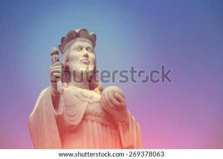 Sculpture of christian man. - instagram style - stock photo