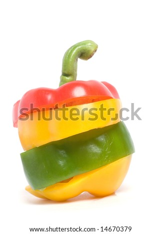 Sculpture of colored pepers on white - stock photo