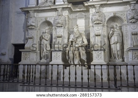 sculpture of Moses by Michelangelo - stock photo