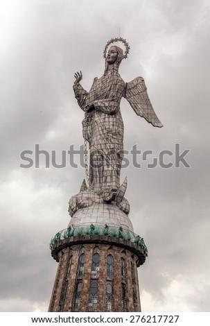 Sculpture of the Virgin in Panecillo hill Quito, south america - stock photo