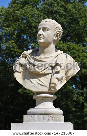 Sculpture of Tiberius in Royal Baths Park, Warsaw, Poland. - stock photo