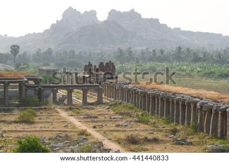Sculpture on Hinduism religious temple. Part of Hampi ancient civilization - stock photo