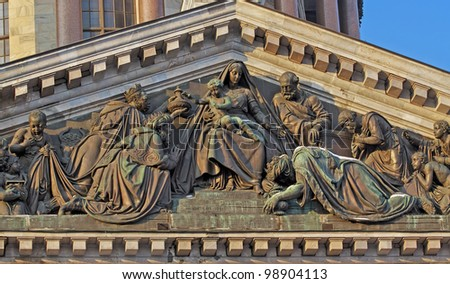 sculpture on the roof of the st.Isaac cathedral - stock photo