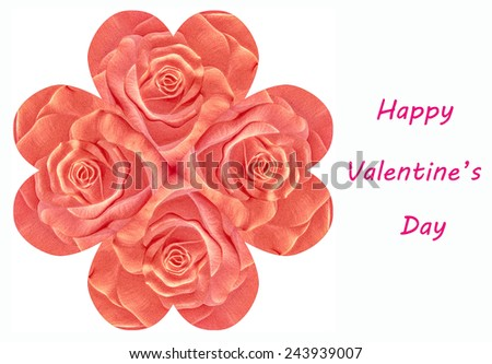 Sculpture rose of valentine's day isolated on white background - stock photo