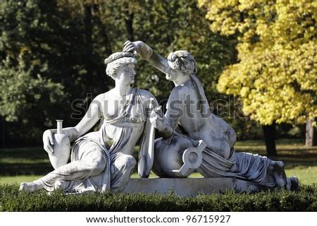 Sculptures in Castle Rosenstein in Stuttgart, Germany - stock photo