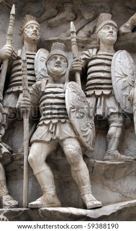 Sculptures of Roman Soldiers - stock photo