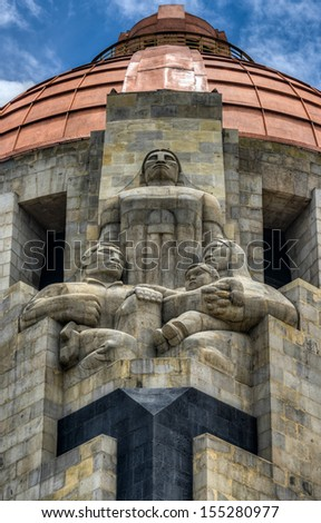 Sculptures of the Monument to the Mexican Revolution (Monumento a la Revolución Mexicana). Built in Republic Square in Mexico City in 1936. - stock photo