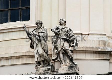 Sculptures of Vittorio Emmanuele monument in Rome - stock photo