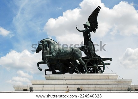 Sculptures of Vittorio Emmanuele monument in Rome - stock photo